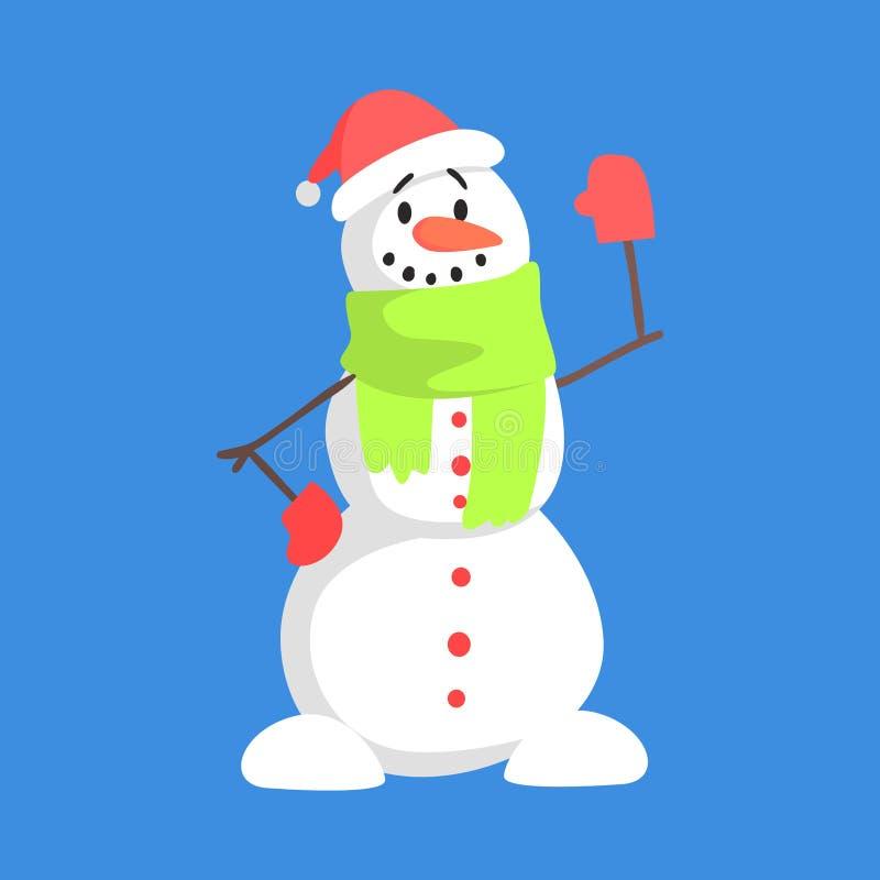 Levende Klassieke Drie Sneeuwbalsneeuwman in Santa Claus Hat And Green Scarf-het Karaktersituatie van het Groetbeeldverhaal vector illustratie