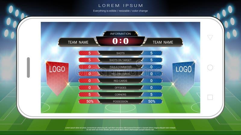 Levende van de voetbalvoetbal zendt het mobiele, Scorebordteam A versus team B en globale stats grafisch voetbalmalplaatje uit royalty-vrije illustratie