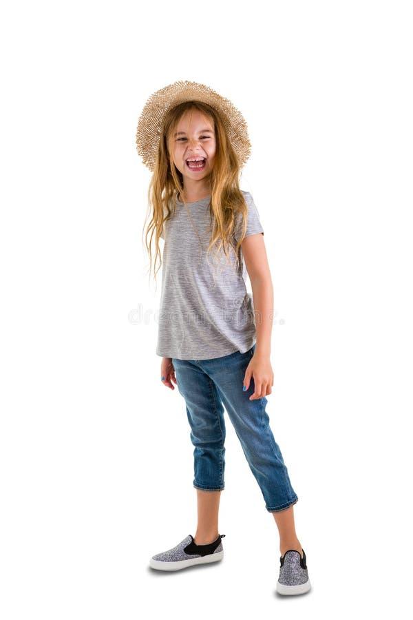 Levendig mooi meisje die bij camera lachen royalty-vrije stock afbeelding