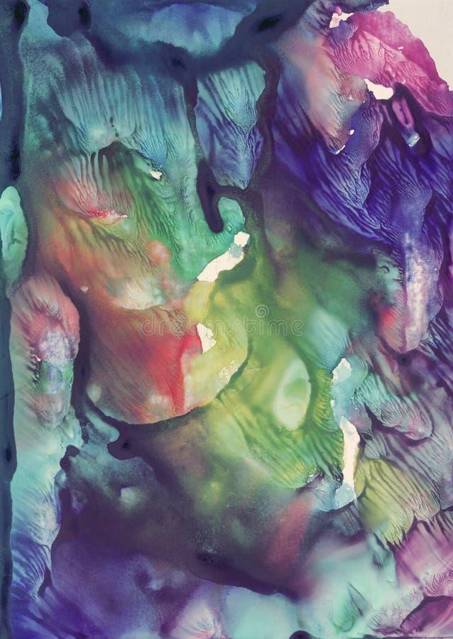 Levendige blauwe en violette kleuren abstracte verticale achtergrond voor fantasieontwerp Hand getrokken waterverfbeeld voor orig royalty-vrije stock afbeeldingen