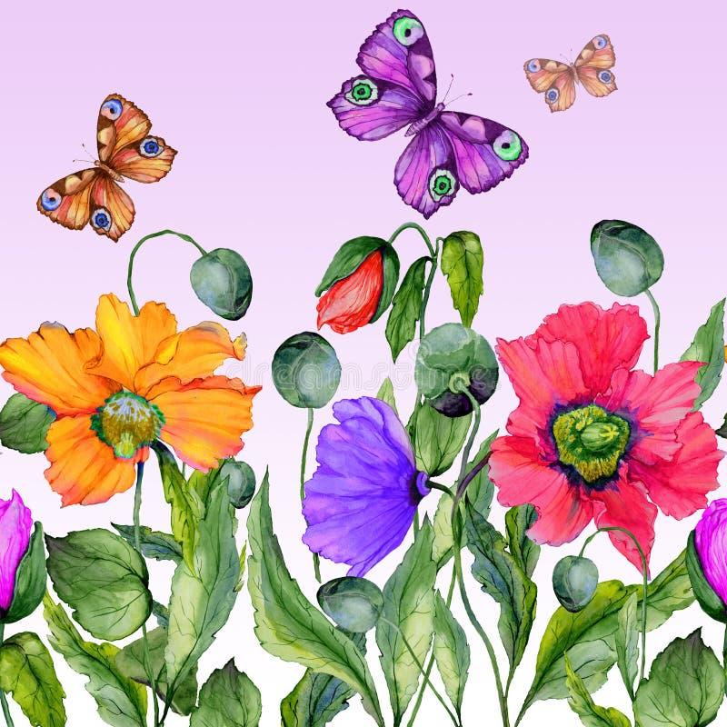Levendige de zomerachtergrond Mooie kleurrijke papaverbloemen en vliegende vlinders op lilac achtergrond Vierkante vorm stock illustratie