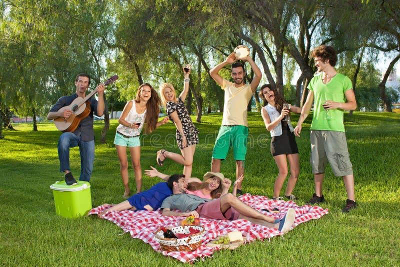 Levendige groep tieners in het park stock afbeelding