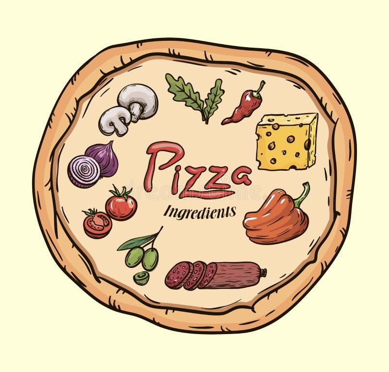 levensmiddelen Ingrediënten voor pizza Kleuren vectorillustratie op beige royalty-vrije illustratie