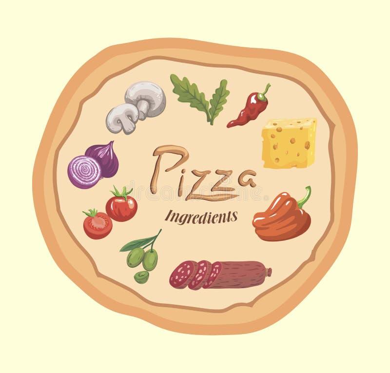 levensmiddelen Ingrediënten voor pizza Kleuren vectorillustratie op beige vector illustratie