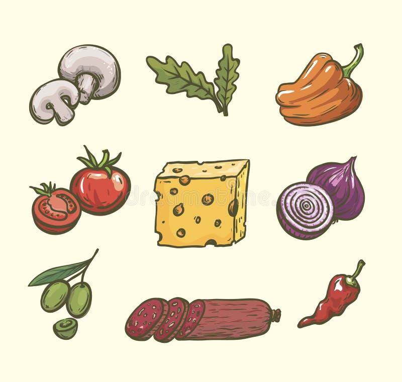 levensmiddelen Ingrediënten voor pizza Reeks kleurenschetsen op wit stock illustratie