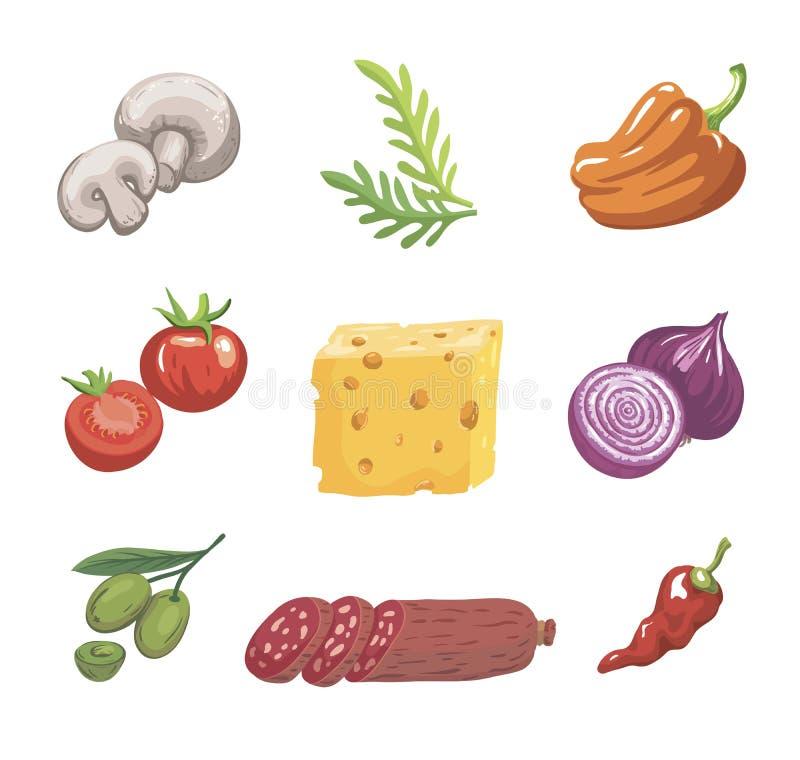 levensmiddelen Ingrediënten voor pizza Reeks kleurenschetsen op wit royalty-vrije illustratie