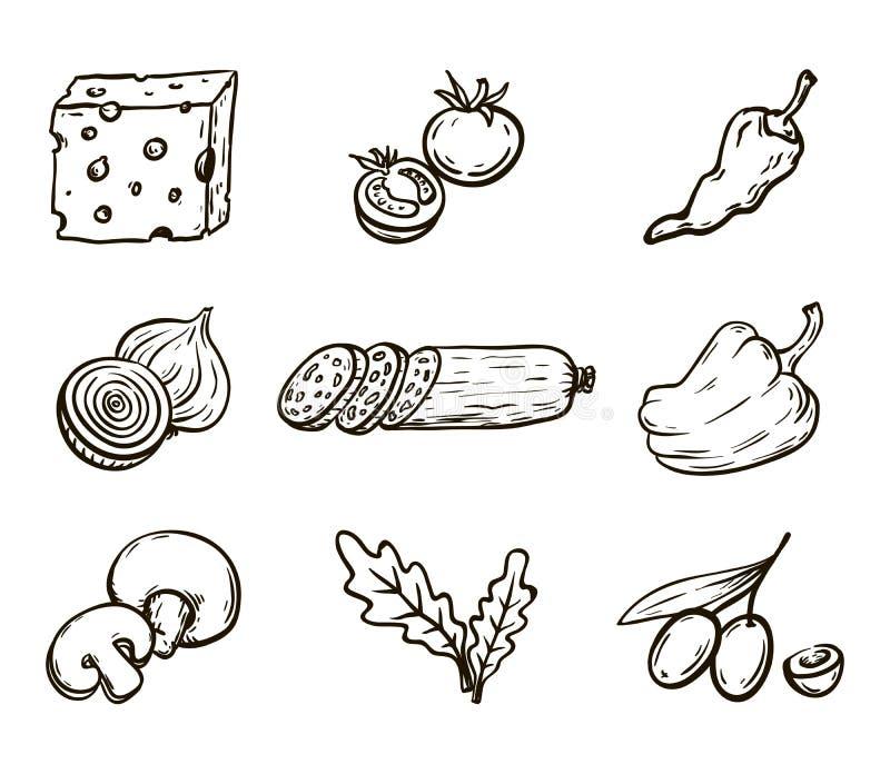 levensmiddelen Ingrediënten voor pizza Reeks vectorschetsen op wit royalty-vrije illustratie