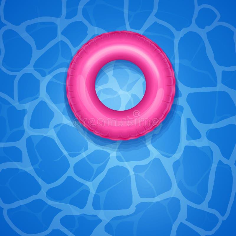 Levensmiddelen in zwembad met schaduw, rubberen ring voor kinderen en volwassenen, zwembad blauw water, getextureerde aqua-achter vector illustratie
