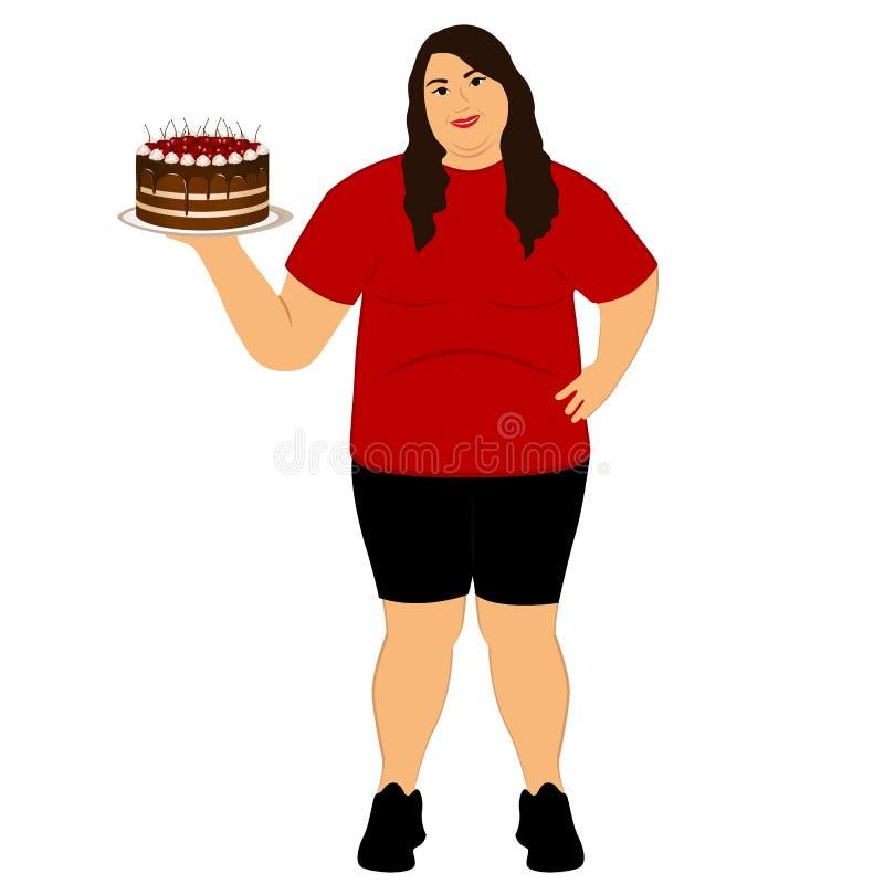 levensstijl De keus Vette vrouw Onjuist voedsel royalty-vrije illustratie