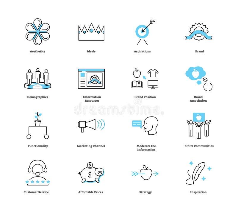 Levensstijl marketing de reeks van de pictograminzameling Adverterende Vectorillustratie vector illustratie