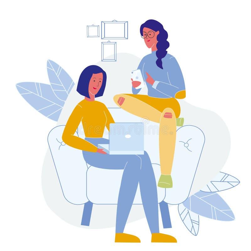 In Levensstijl, Online Vrije tijds Vlakke Illustratie royalty-vrije illustratie