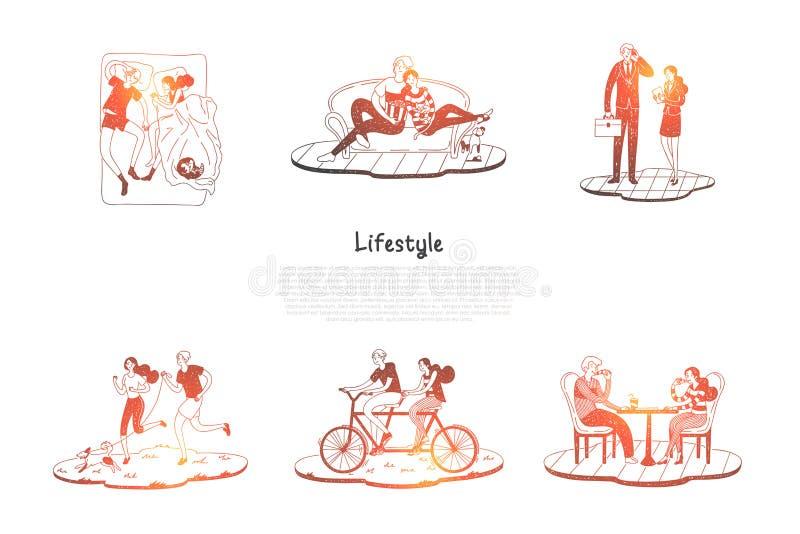 Levensstijl - paar berijdende fietsen, slaap, die op bank, het werken, het lopen reeksen van het hond de samen vectorconcept rust vector illustratie
