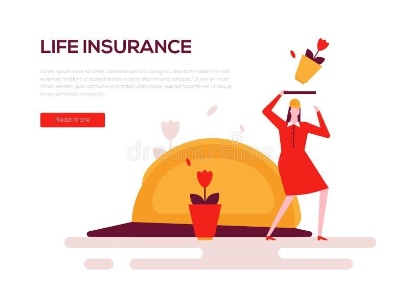 Levensverzekering - kleurrijke vlakke het Webbanner van de ontwerpstijl royalty-vrije illustratie