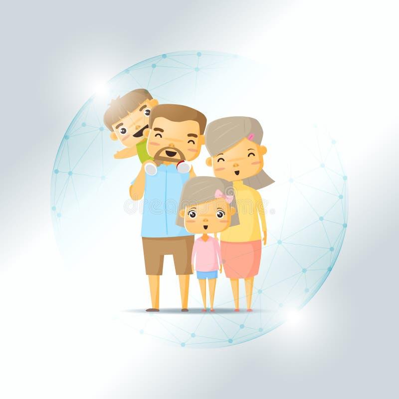 Levensverzekeringsconcept met gelukkige die familie in veelhoekig gebiedschild wordt beschermd vector illustratie