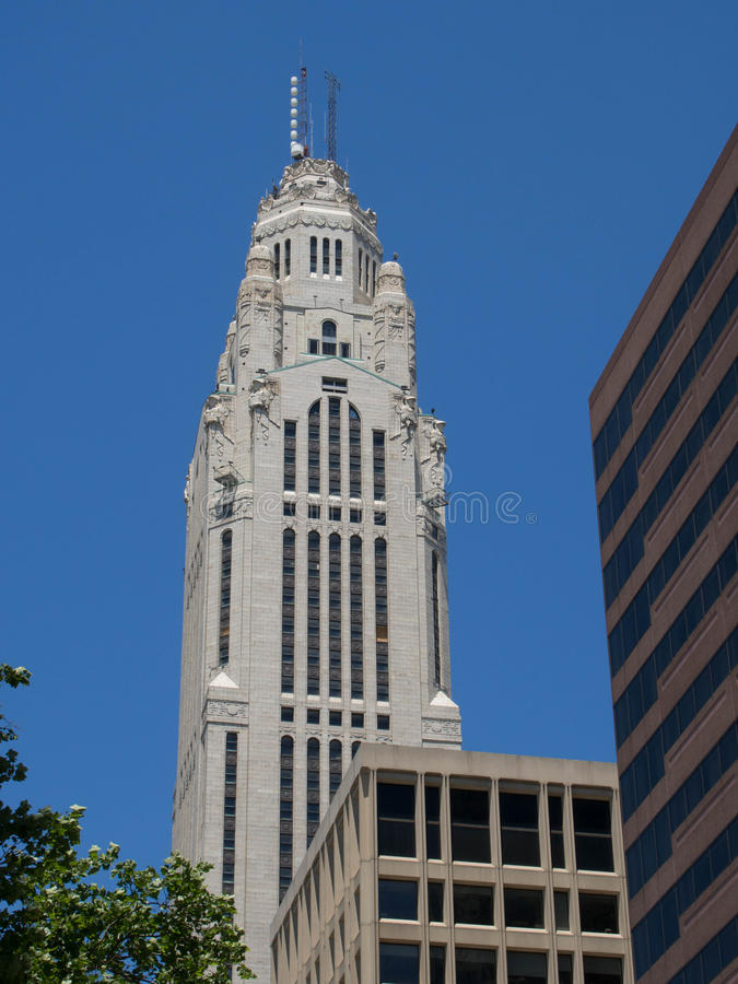 Leveque Tower on a Clear Day. Leveque Tower on a Beautiful Clear Day in Downtown Columbus, Ohio royalty free stock photography