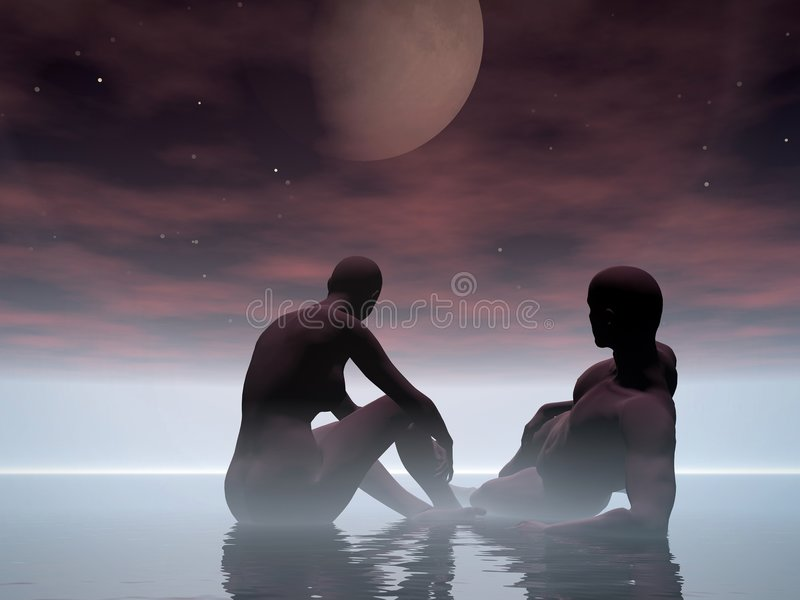 Lever De La Lune, Moonset. Image libre de droits