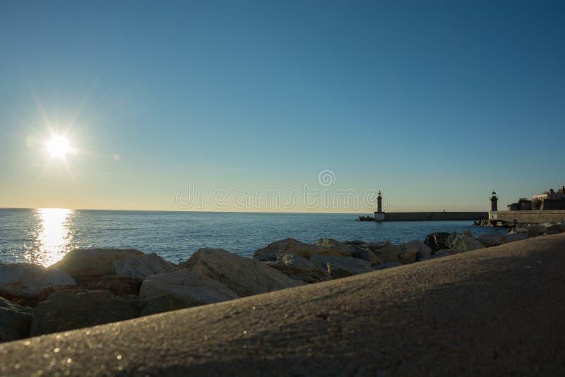 Lever de soleil à Bastia image libre de droits