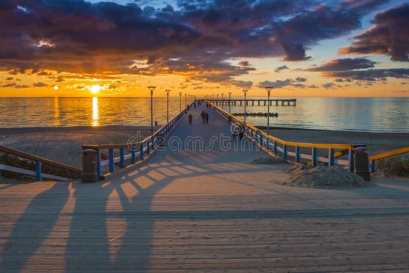 Lever de soleil à la mer baltique, Palanga images libres de droits