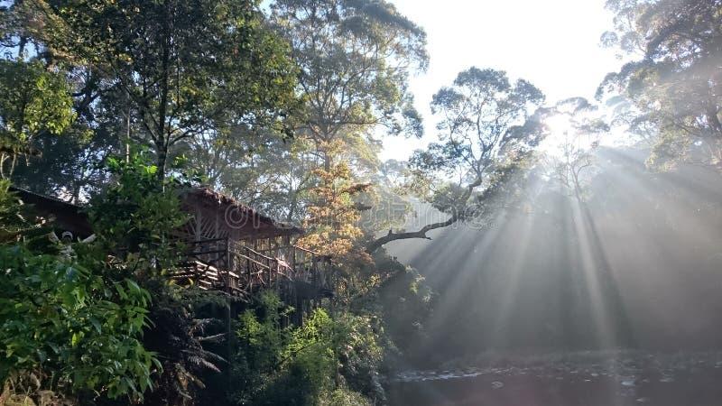 Lever de soleil à une hutte images libres de droits