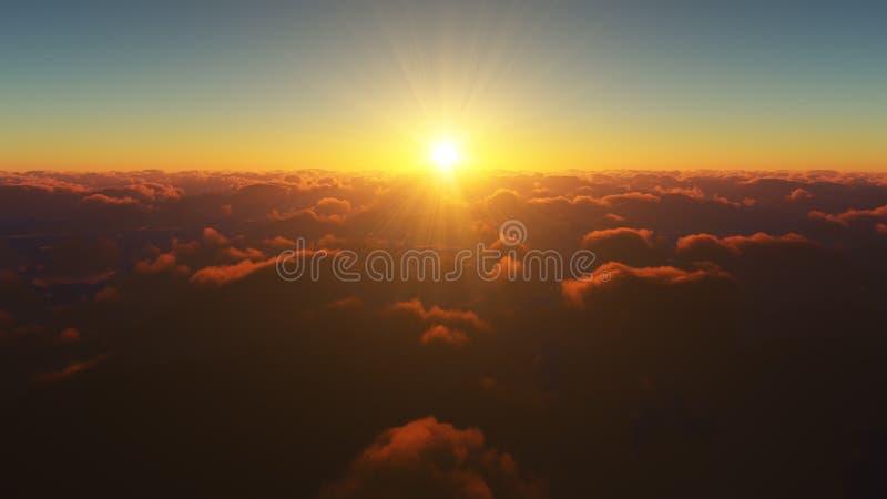 Lever de soleil étonnant et réaliste au-dessus des nuages illustration stock