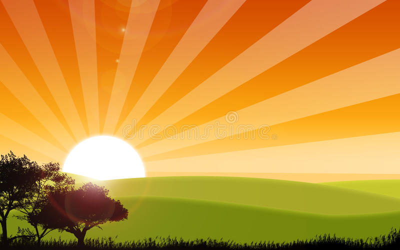 Lever de soleil illustration de vecteur