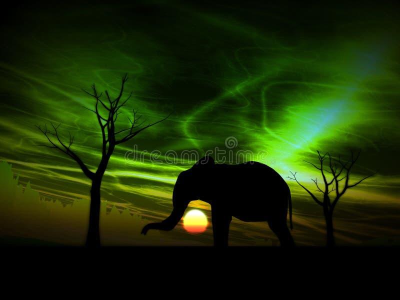 Lever de soleil 97 d'éléphant illustration de vecteur