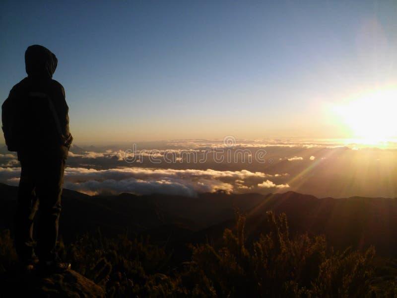 Lever de soleil admiratif d'homme, Pico da Bandeira, Brésil photo libre de droits
