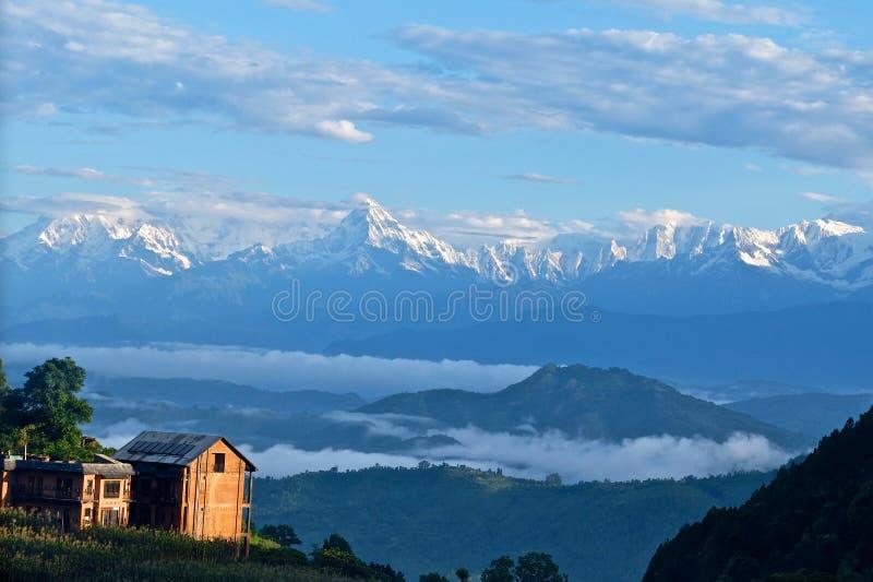 Lever de soleil Annapurna Himal, Népal Himalaya image stock