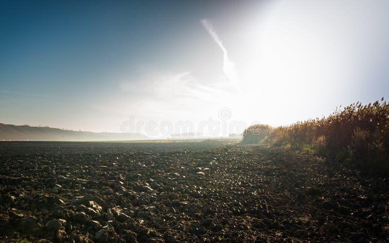 Lever de soleil au-dessus d'un champ images libres de droits