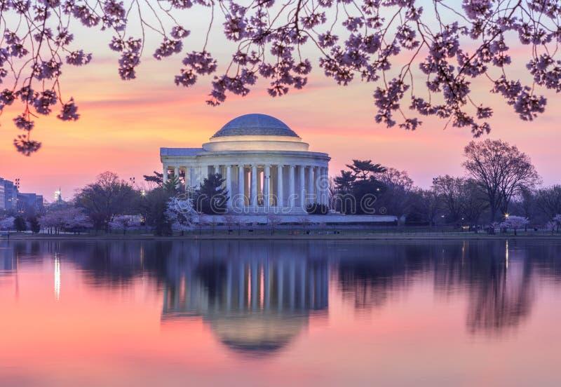 Lever de soleil au-dessus de C.C de Jefferson Memorial Washington photographie stock