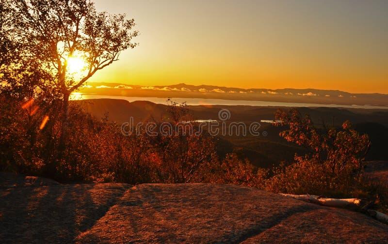 Lever de soleil au-dessus de Champlain photos libres de droits