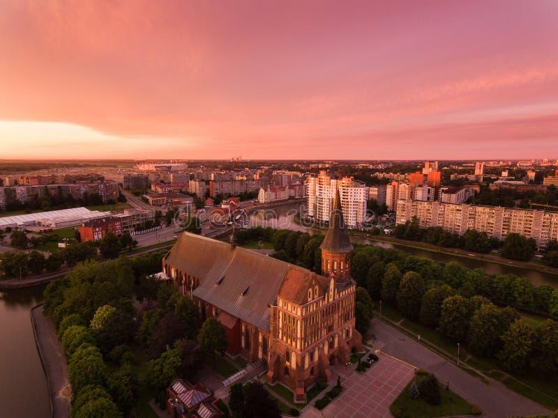 Lever de soleil au-dessus de Kaliningrad photos libres de droits