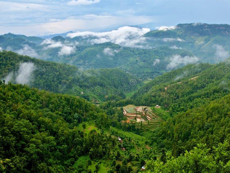 Lever de soleil au-dessus de l'Himalaya photographie stock libre de droits
