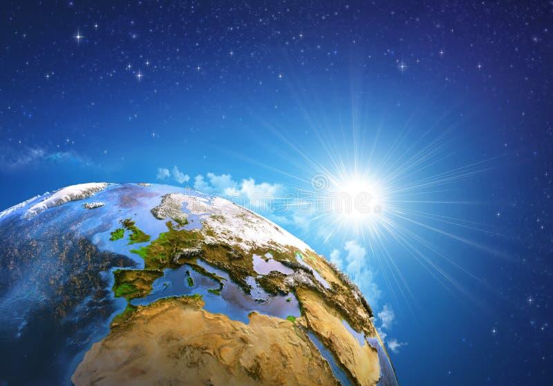 Lever de soleil au-dessus de la terre photos stock