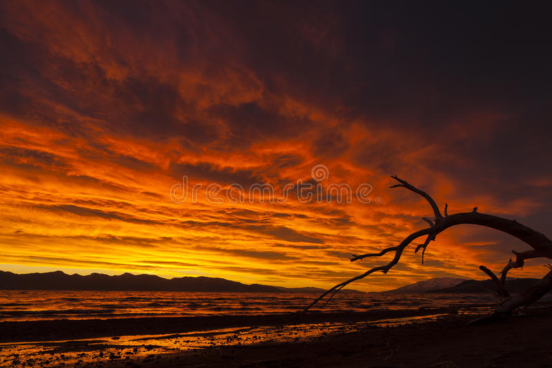 Lever de soleil au-dessus de lac pyramid au Nevada photo libre de droits