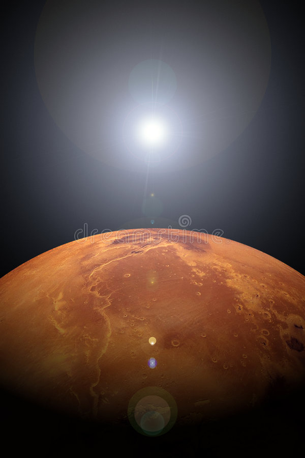 Lever de soleil au-dessus de Mars illustration stock