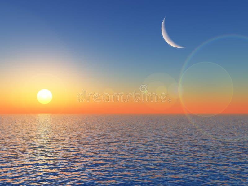 Lever de soleil au-dessus de mer avec la lune illustration stock