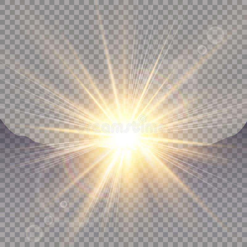 Lever de soleil au-dessus des montagnes, aube Lumière du soleil transparente de vecteur Effet de la lumière de fusée spéciale de  illustration stock