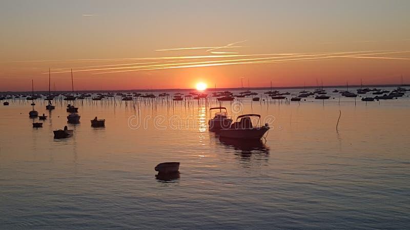 Lever de soleil au-dessus du d& x27 de Bassin ; Arcachon, Cap Ferret, France photos libres de droits