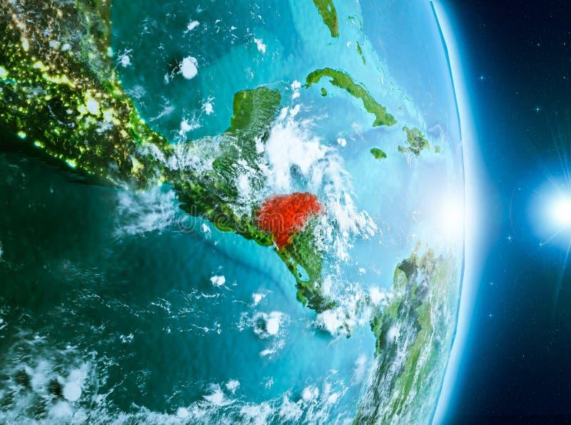 Lever de soleil au-dessus du Honduras sur terre de planète illustration stock