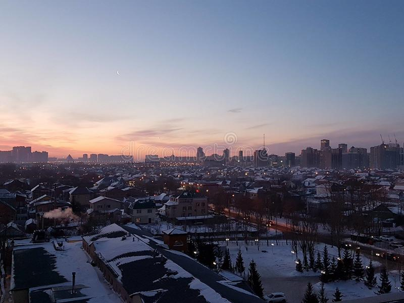 Lever de soleil au-dessus de Kazakhstan image stock