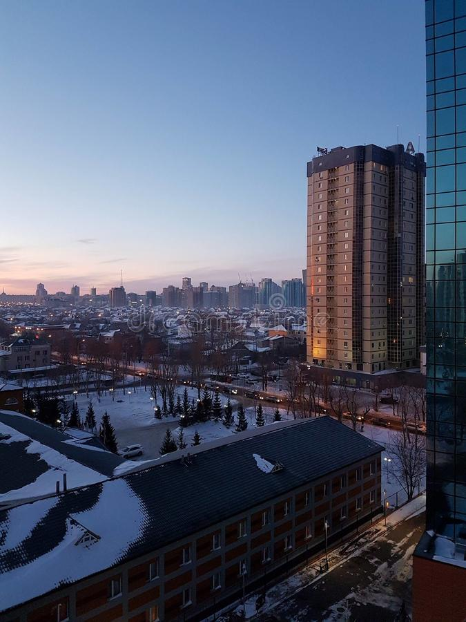 Lever de soleil au-dessus de Kazakhstan photographie stock