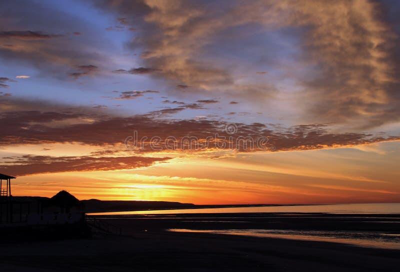 Lever de soleil au-dessus de la mer de Cortez, EL Golfo, Mexique photographie stock