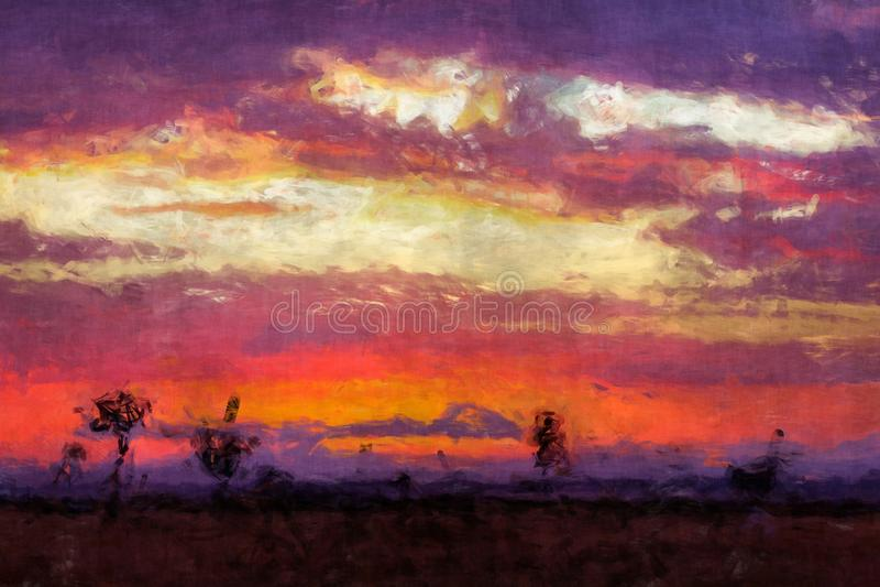 Lever de soleil au-dessus de la peinture numérique de Mara illustration stock