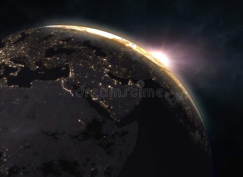 Lever de soleil au-dessus de la terre - l'Europe photos libres de droits