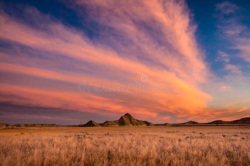 Lever de soleil au-dessus de parc d'état de champignon, Nébraska photo stock
