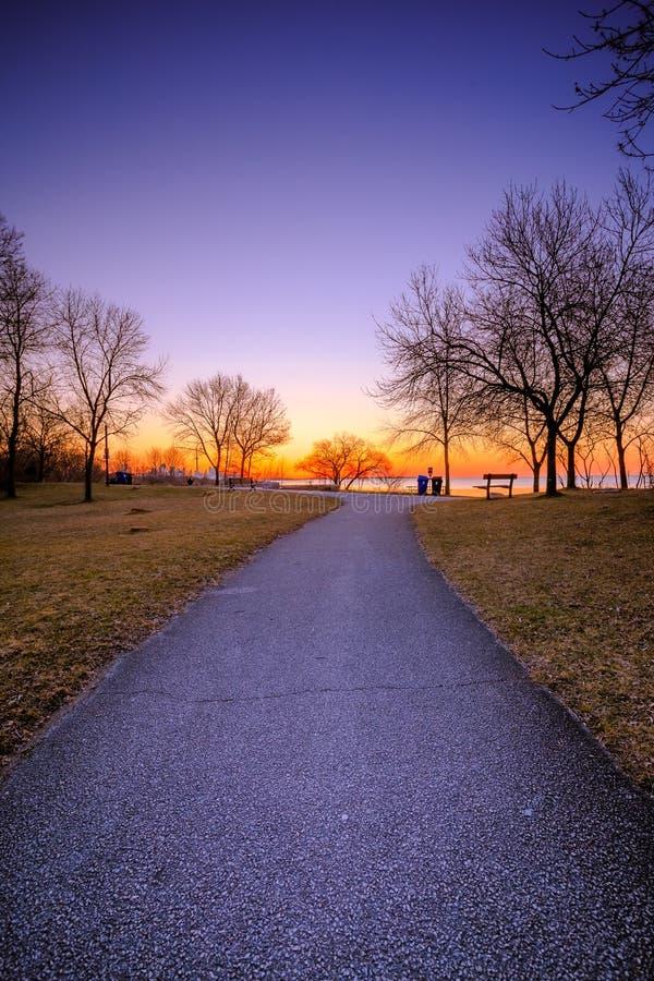 Lever de soleil au parc de baie de Humber images libres de droits