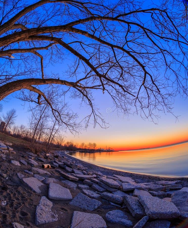 Lever de soleil au parc de baie de Humber photos stock