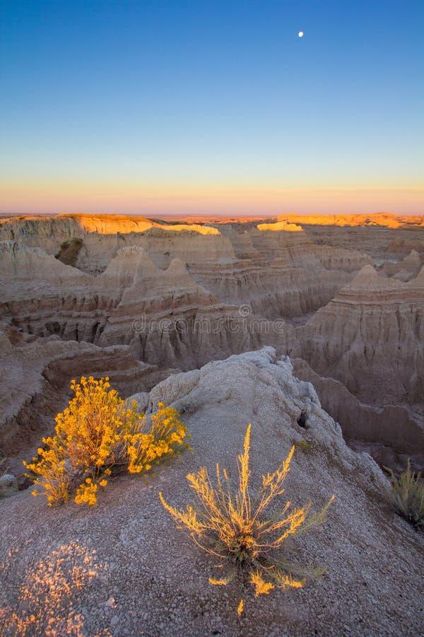 Lever de soleil au parc national de bad-lands dans le Dakota du Sud photographie stock libre de droits