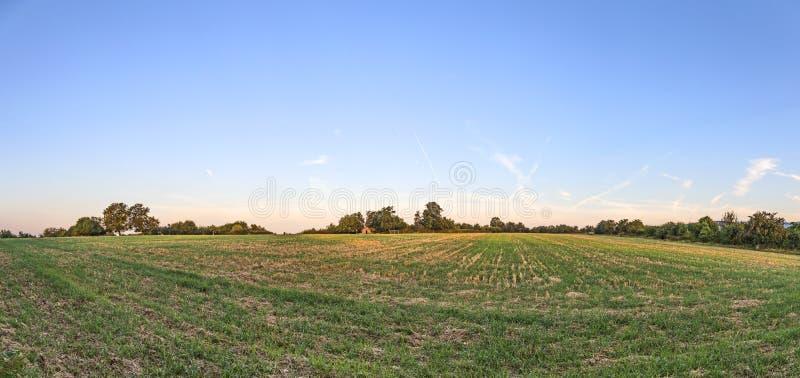 Lever de soleil au pré sous le ciel bleu photographie stock